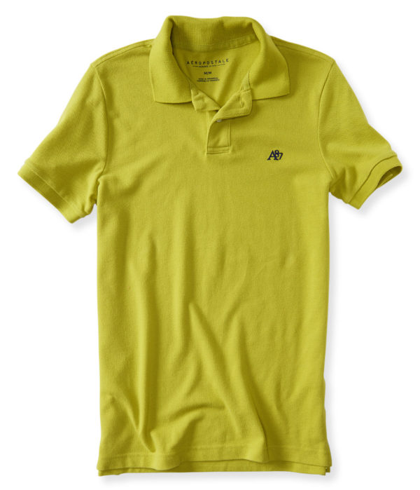 A87 Solid Logo Piqué Polo - Olive Green -- N3800