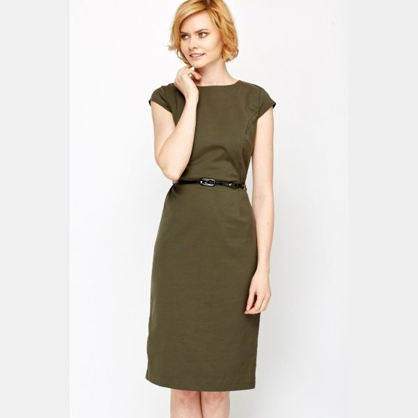 Army Green Office Belted Dress -- N4000