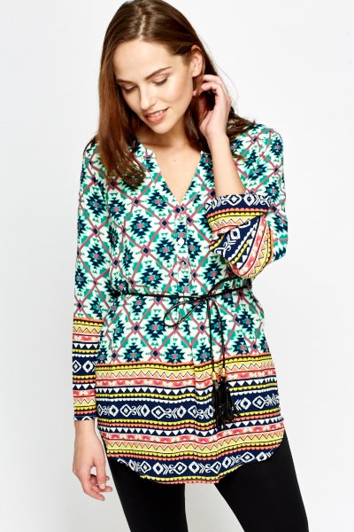 Belted Aztec Tunic -- N4000