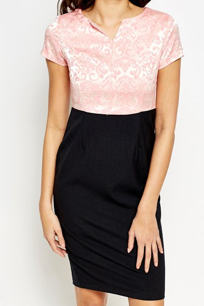 Embroidered Pink Contrast Dress -- N4500