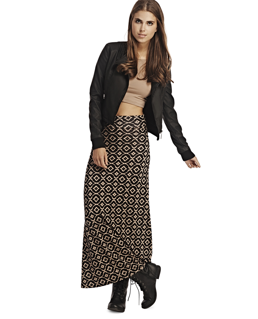 Geo Print Maxi Skirt -- N2300