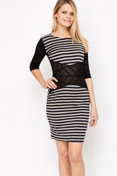 Mesh Insert Stripe Dress -- N4000