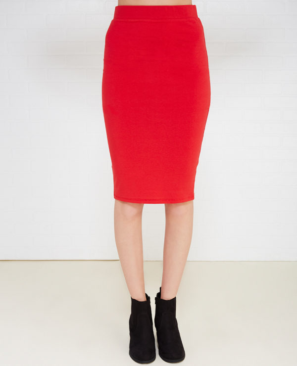 Solid Bodycon Midi Skirt -- N3000