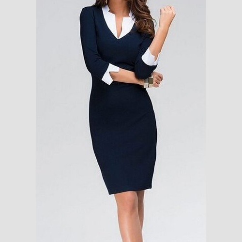 Splicing Bodycon Dress -- N4000