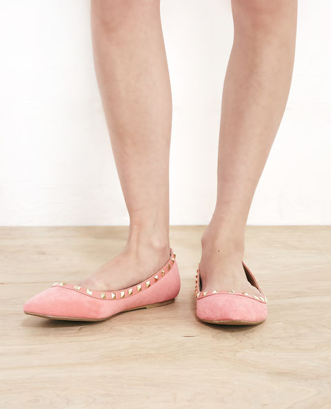 Faux Suede Pointy Studded Flats -- N4000