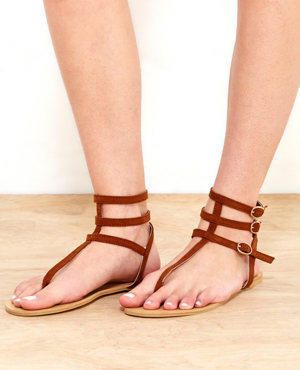 Faux Suede T-Strap Sandals - Brown -- N4000