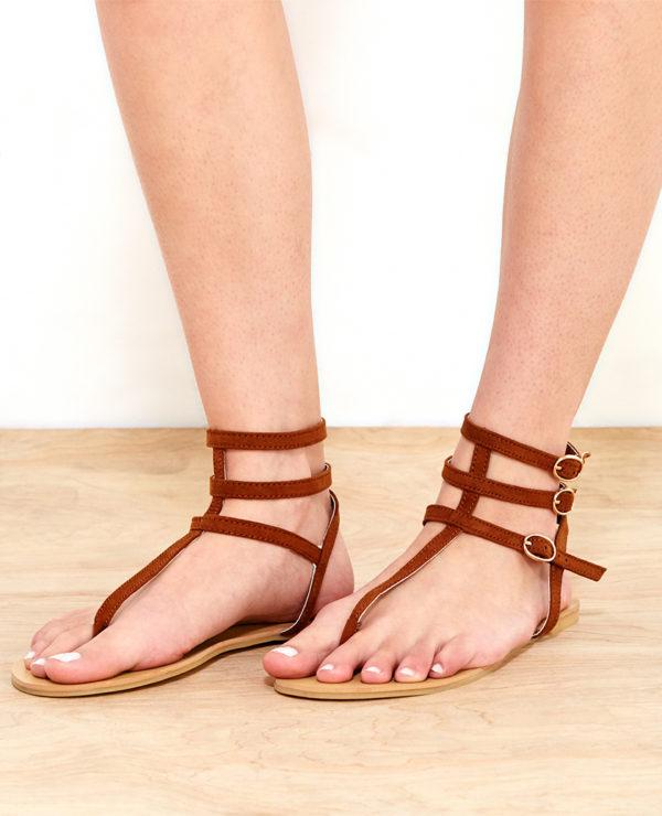 Faux Suede T-Strap Sandals - Brown -- N4000