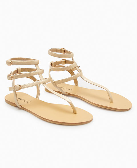 Faux Suede T-Strap Sandals - Gold -- N4000