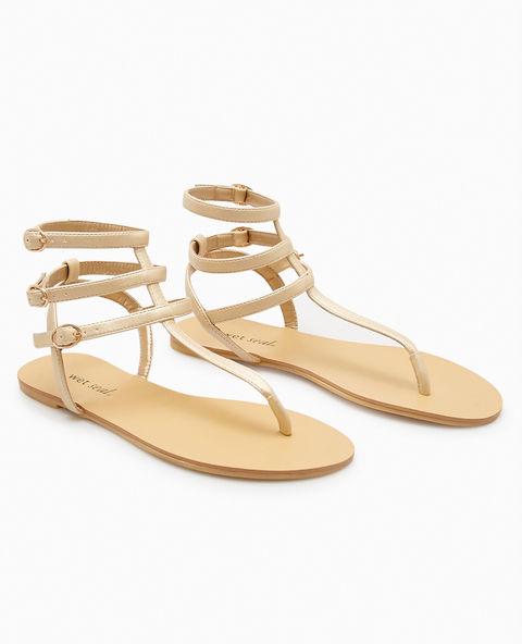 Faux Suede T-Strap Sandals - Gold -- N4000