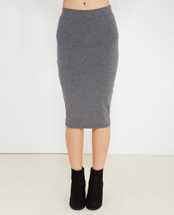 Basic Pull Up Skirt - Charcoal -- N3000