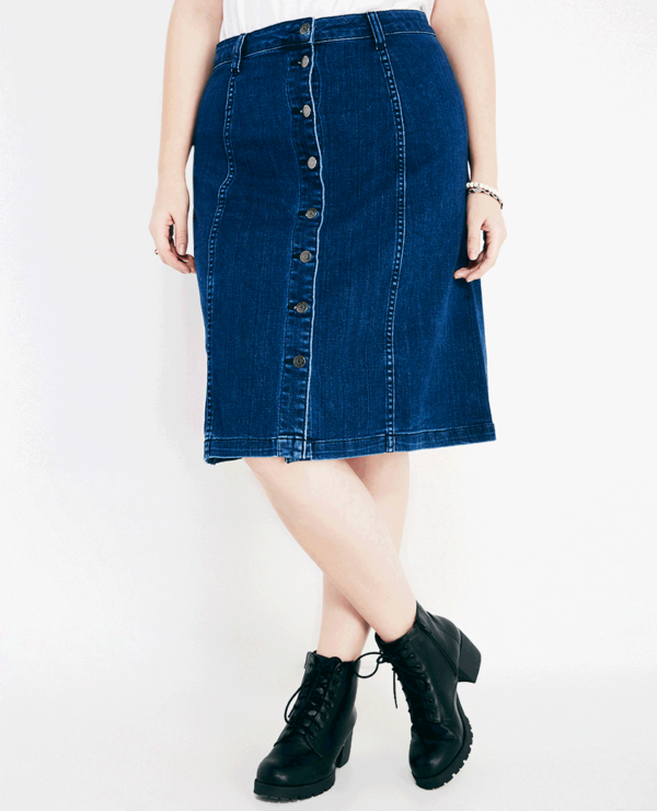 Button Down A Line Denim Skirt -- N4500