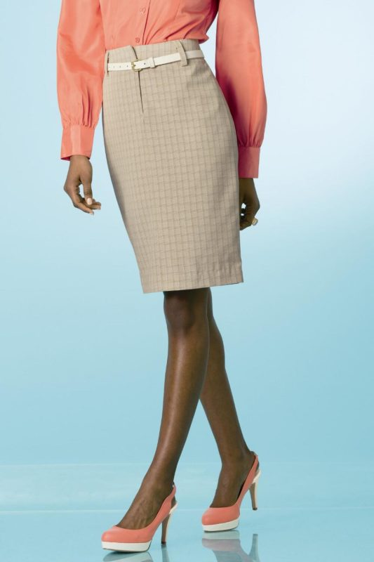 Tan Suiting Skirt with Belt -- N5500