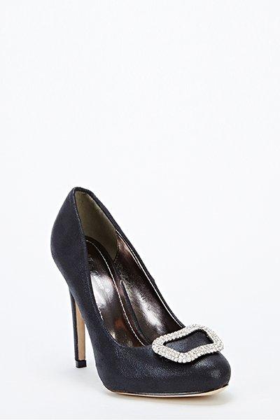 Encrusted Front Heels - Black -- N6500