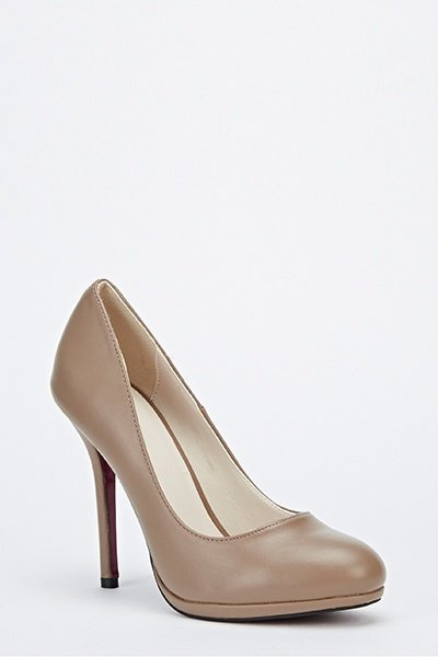 Faux Leather Tapered Heels -- N6500