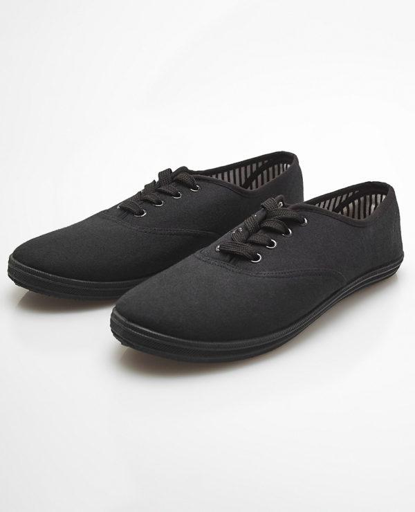 Classic Canvas Sneakers - Black -- N4000
