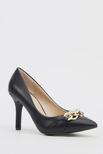 Encrusted Detail Court Shoes - N5500