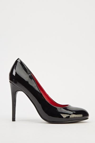 Ideal Patent Court Heels - Black - N6500