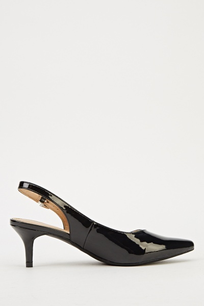 Ideal Sling Back Low Heels - Black 2