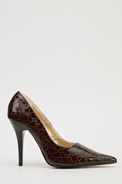 Ma-Eva Mock Croc Heels - Brown - N6500