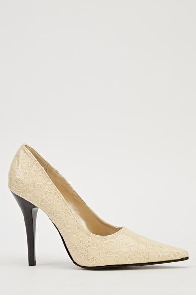 Ma-Eva Mock Croc Heels - Nude -- N6500