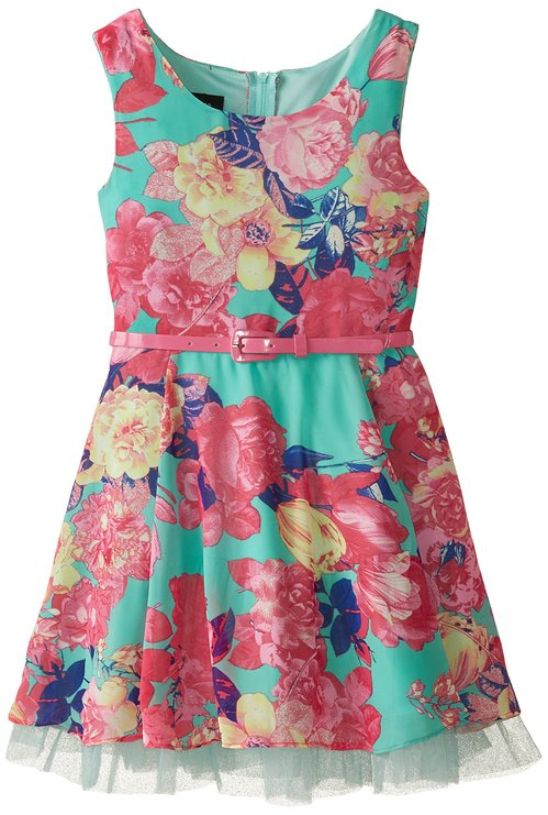 Amy Byer Print Chiffon Dress -- N4800