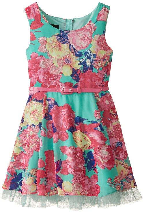 Amy Byer Print Chiffon Dress -- N4800