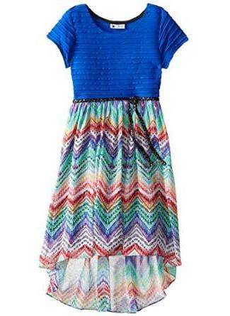 Emily West Printed Chevron Hi-Lo Dress -- N4000