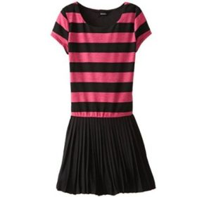 Zunie rugby Striped dress with pleated skirt -- Fuchsia - N3500