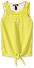 Dream Star Hacci Tie Front with Lace Back Yoke and Sequince - Yellow - N2500