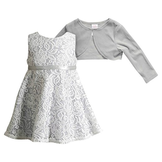 Youngland 2 Piece Floral Lace and Cardigan Dress Set -- N6500